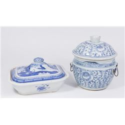 :2 Blue & White Chinese Canton Covered Bowls
