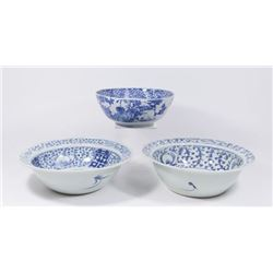 :3 Chinese Blue & White Canton Bowls