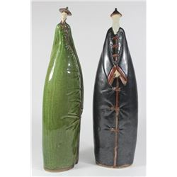 Pair Modernist Japanese Ancestral Ceramic Figures
