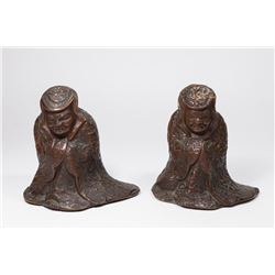 Pair Chinese Repousse Bronze Figures