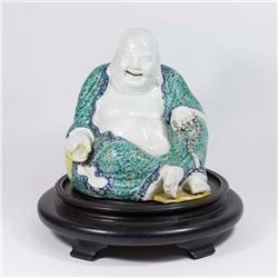 Chinese Porcelain Sitting Buddha on Wood Stand