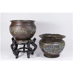 2 Chinese Bronze & Champleve Planters