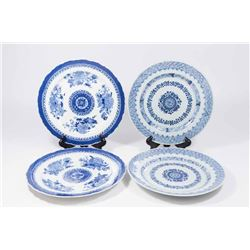 2 Pairs Asian Blue & White Plates