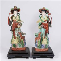 Pair Early 20th Centur Japanese Women Figures