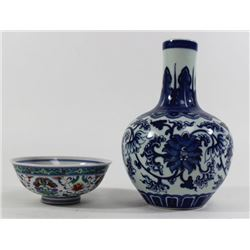 2 Chinese Porcelain Shing Dynasty Items