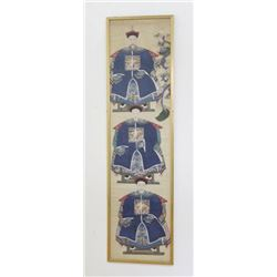 Chinese Ancestor Painting of 3 Noblemen