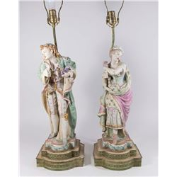 Pair Bisque Masquerade Ball Figures