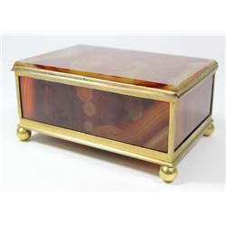 Continental Gilt Metal & Agate Box