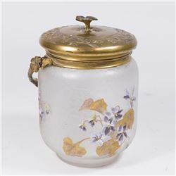 Emile Galle Metal Covered Biscuit Jar