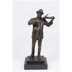 :Contemporary Bronze Figure of Violinist