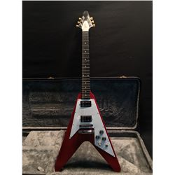 GIBSON FLYING V, IN HERITAGE CHERRY FINISH WITH WHITE PICK GUARD, WITH DUAL HUMBUCKER PICKUPS, MADE