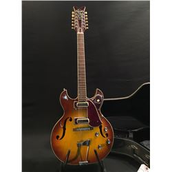 VINTAGE PAN 12 STRING HOLLOW BODY ELECTRIC GUITAR, MADE IN JAPAN, WITH THREE POSITION PICKUP