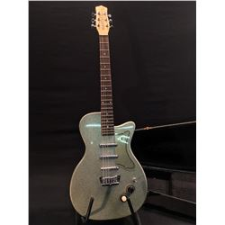 DANELECTRO 56-U3 ELECTRIC GUITAR, TURQUOISE METALFLAKE FINISH, WITH THREE LIPSTICK PICKUPS, 6