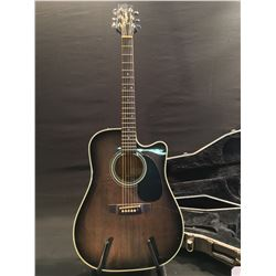 TAKAMINE ELECTRIC/ACOUSTIC GUITAR, SERIAL NUMBER 93021490, MADE IN JAPAN, WITH B-CHK EQ MODULE,