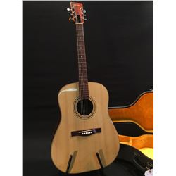 GIANNINI MODEL AWS 570 ACOUSTIC GUITAR, MADE IN BRAZIL, SERIAL NUMBER 09/73, COMES WITH HARD SHELL