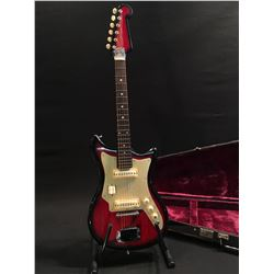 TEISCO ELECTRIC GUITAR, MADE IN JAPAN, WITH TWO TEISCO S-2 PICKUPS, TWO PICKUP SWITCHES, ONE TONE,