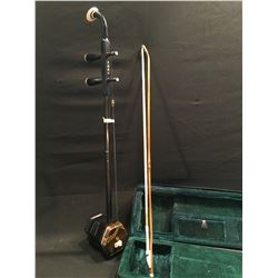 CHINESE ERHU, TRADITIONAL 2 STRING BOWED INSTRUMENT, WITH PYTHON SKIN RESONATOR, COMES WITH PIEZO
