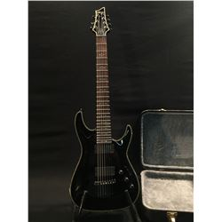 SCHECTER DIAMOND SERIES HELLRAISER ACTIVE 7 STRING GUITAR, WITH TWO EMG PICKUPS, THREE TONE/VOLUME