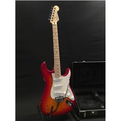 FENDER STRATOCASTER, WITH THREE SINGLE COIL PICKUPS, AND VIBRATO BRIDGE, MADE IN MEXICO, SERIAL
