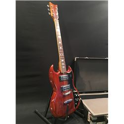 NO NAME SG STYLE ELECTRIC GUITAR, WITH TWO LEATHER COVERED DOUBLE COIL PICKUPS, THREE POSITION