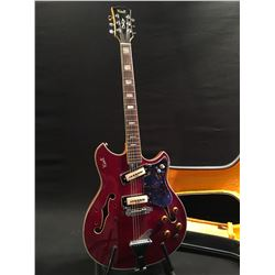 VINTAGE KENT HOLLOW BODY ELECTRIC GUITAR, LIKELY 60S OR EARLY 70S, TWO KENT SINGLE COIL PICKUPS,