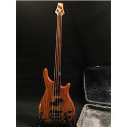 VINTAGE NATURAL WOOD TONE FRETLESS BASS, WITH TWO SINGLE COIL PICKUPS, TWO TONE, AND TWO VOLUME