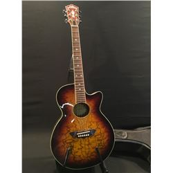 WASHBURN MODEL EA18TS CUTAWAY ACOUSTIC/ELECTRIC GUITAR, COMES WITH SOFT SHELL CASE