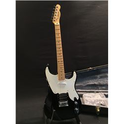 SQUIER BY FENDER, OFFSET JAZZ/STRAT STYLE ELECTRIC GUITAR, WITH HUMBUCKER PICKUP, AND TWO SINGLE