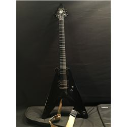 EPIPHONE FLYING V GUITAR WITH INLAID GRIP STRIP, TWO HUMBUCKER PICKUPS, THREE POSITION PICKUP