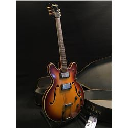 PAN HOLLOWBODY ELECTRIC GUITAR, MADE IN JAPAN, WITH TWO HUMBUCKER PICKUPS, THREE POSITION PICKUP