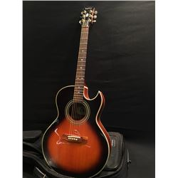 EPIPHONE MODEL PR 5E/VS CUTAWAY ACOUSTIC/ELECTRIC GUITAR, SERIAL NUMBER 32800720, SOME CRACKING IN