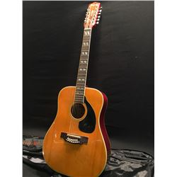 EMPERADOR MODEL F012 12 STRING ACOUSTIC GUITAR, MADE IN JAPAN, SOME REPAIRED DAMAGE TO HEADSTOCK,