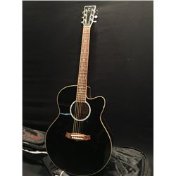 TANGLEWOOD MODEL TSJCEBK CUTAWAY ACOUSTIC/ELECTRIC GUITAR, COMES WITH SOFT SHELL CASE