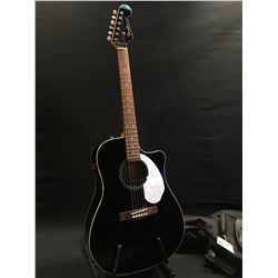 FENDER SONORAN MODEL SCE BLACK CUTAWAY ACOUSTIC/ELECTRIC GUITAR, COMES WITH SOFT SHELL CASE