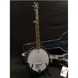 GIBSON EPIPHONE 5 STRING BANJO, COMES WITH HARD SHELL CASE