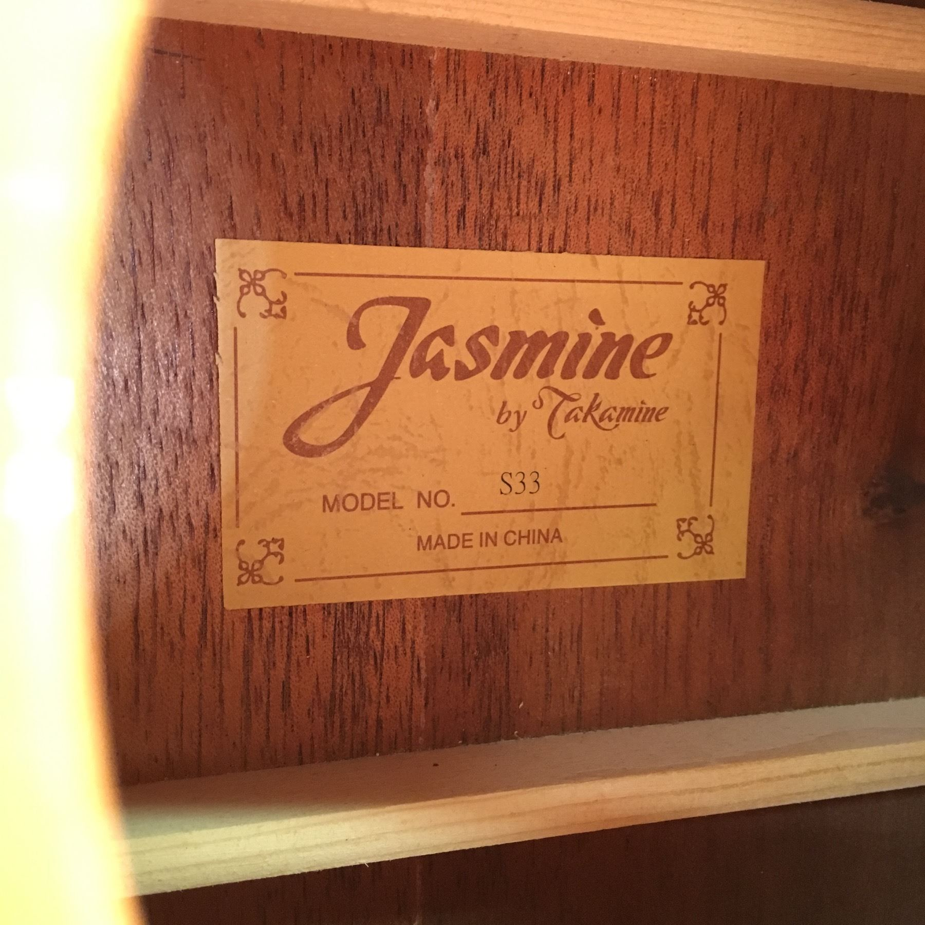 Jasmine By Takamine Model S33 Acoustic Guitar Comes With Hard Shell