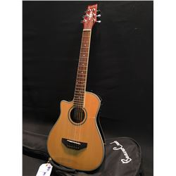 BEAVER CREEK MODEL BCRB501LE LEFT HANDED CUTAWAY MINIATURE ACOUSTIC/ELECTRIC GUITAR, COMES WITH