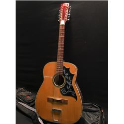 CANORA MODEL A620 12 STRING ACOUSTIC GUITAR, MADE IN JAPAN, COMES WITH SOFT SHELL CASE
