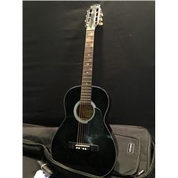 HONDO MODEL H10S-B PARLOUR STYLE ACOUSTIC GUITAR, COMES WITH SOFT SHELL CASE