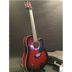 MIRAGE MODEL WG-881CTVC/VS ACOUSTIC/ELECTRIC GUITAR, COMES WITH HARD SHELL CASE