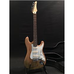 NO NAME RAW UNFINISHED WOOD, STRAT STYLE ELECTRIC GUITAR, WITH THREE SINGLE COIL PICKUPS, FIVE