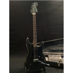 SQUIER STRATOCASTER GUITAR, WITH TWO HUMBUCKER PICKUPS, THREE POSITION PICKUP SELECTOR, VOLUME AND