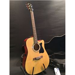 IBANEZ MODEL V72ECE-NT-27-01 CUTAWAY ACOUSTIC/ELECTRIC GUITAR, COMES WITH HARD SHELL CASE