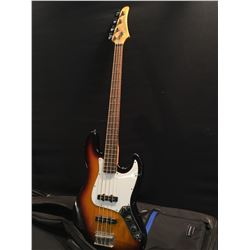 EASTWOOD MODEL EB20-TS 4 STRING ELECTRIC BASS, WITH TWO SINGLE COIL PICKUPS, TONE AND TWO VOLUME