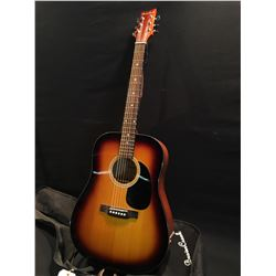 BEAVER CREEK MODEL BCTD101SB ACOUSTIC GUITAR, COMES WITH HARD SHELL CASE