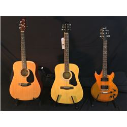 3 GUITARS: SILVERTONE ACOUSTIC GUITAR, MONTANA ACOUSTIC GUITAR WITH SOFT SHELL CASE, AND IBANEZ GIO