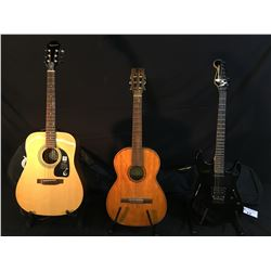 3 GUITARS: SAVONA MODEL SN-20 NYLON STRING GUITAR, MADE IN BRAZIL, SQUIER SHOWMASTER REVERSE