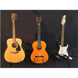 3 GUITARS: ROBSON STRAT STYLE GUITAR WITH SOFT SHELL CASE, VANTAGE MODEL VC-10 NYLON STRING