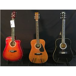 3 GUITARS: SAMICK MODEL SW-015-1 ACOUSTIC GUITAR, MONTANA CUTAWAY ACOUSTIC/ELECTRIC GUITAR, AND GK