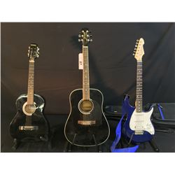 3 GUITARS: JASMINE BY TAKAMINE MODEL S341 ACOUSTIC GUITAR, NOVA ACOUSTIC GUITAR, AND PEAVEY RAPTOR